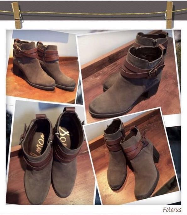 """⭐️REDUCED PRICE!!Brand New and unused Sam Edelman """"Hannah""""charcoal grey and brown belted booties in  size 7 1/2 ."""