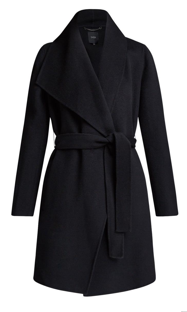 SABA Size 6 Kayla Drape Coat in Black
