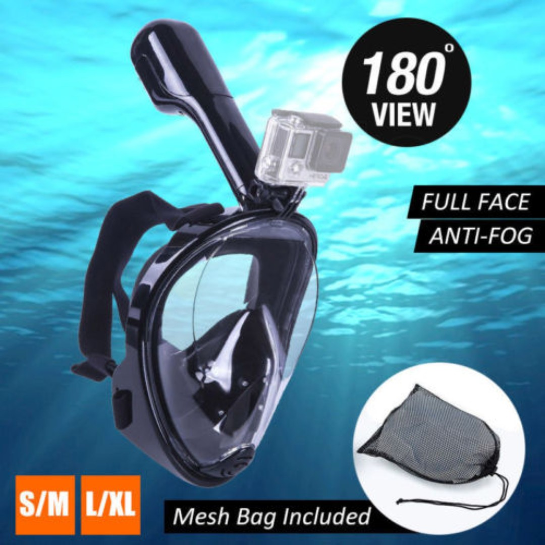 Telesin 2018 Edition Snorkeling Mask with Quick Buckle Attachment for Gopro and Other Action Camera (S-M / L-XL)