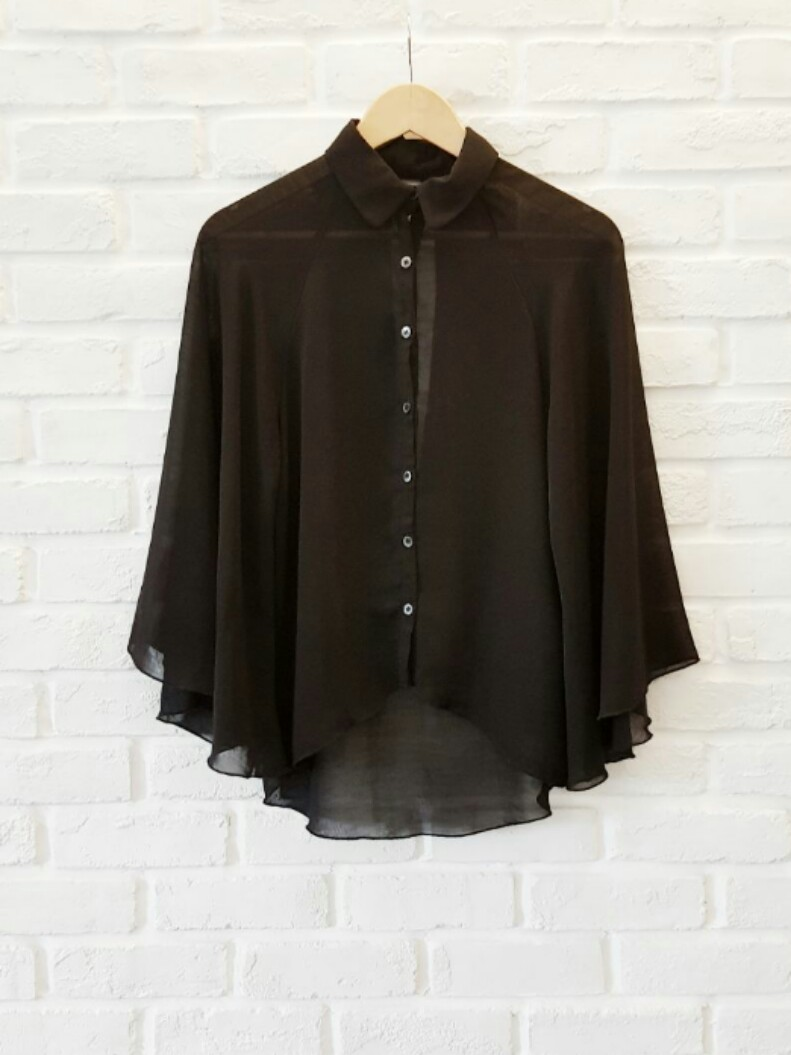 69d2817036450 UK12 Black Cape Blouse with keyhole at back