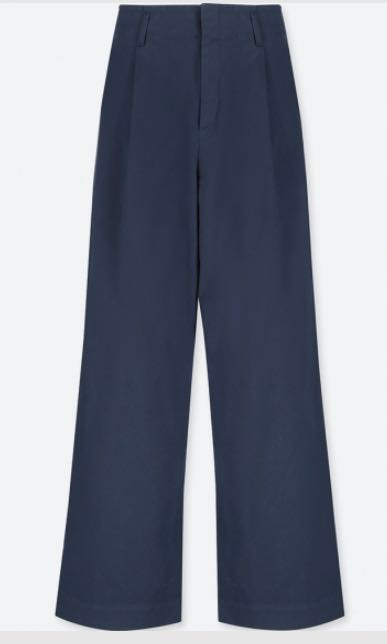 d8bde92518 UNIQLO WOMEN High Waist Chino Wide Leg Pants in Navy Blue, Women's Fashion,  Clothes, Pants, Jeans & Shorts on Carousell
