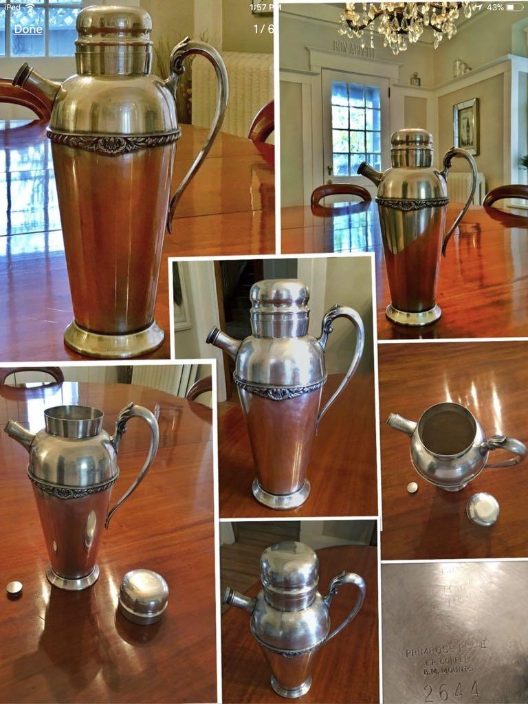 ****Vintage 1940's Primrose silver plate,Birks cocktail shaker****
