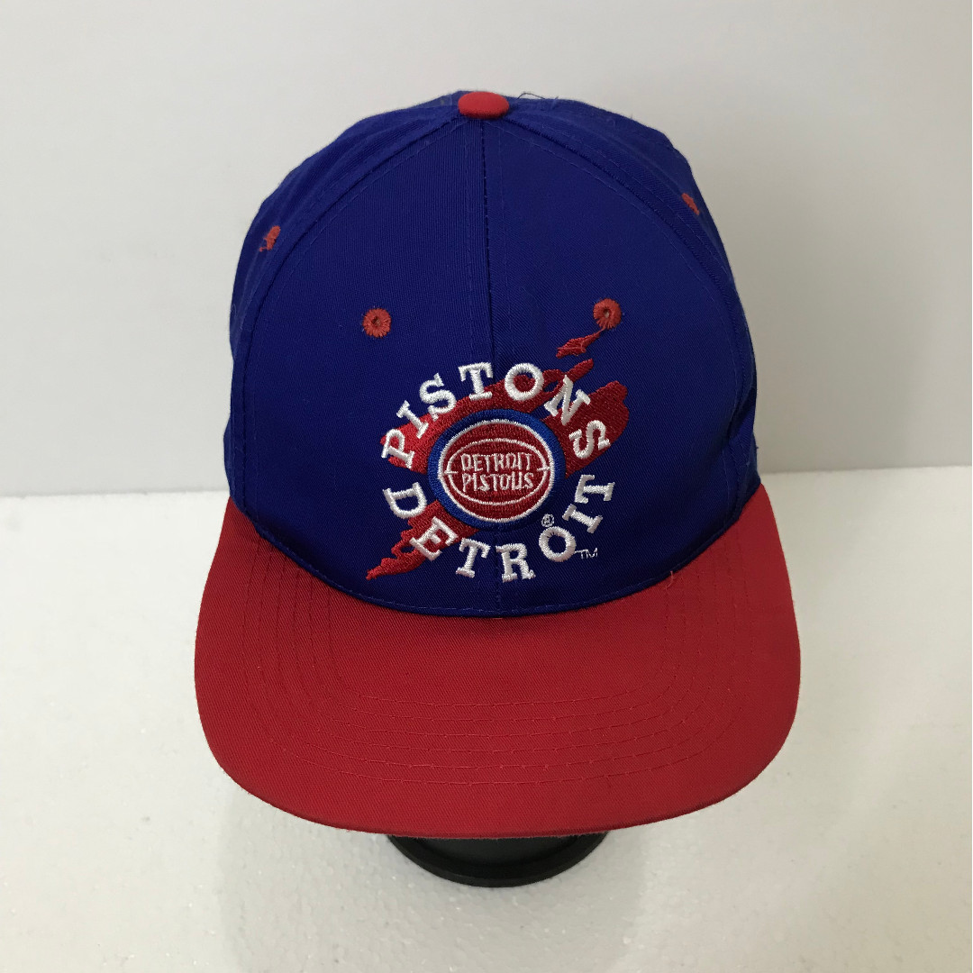 d88525fab0f0b Vintage 90s DETROIT PISTONS Spell Out Big Logo Embroidered Baseball ...