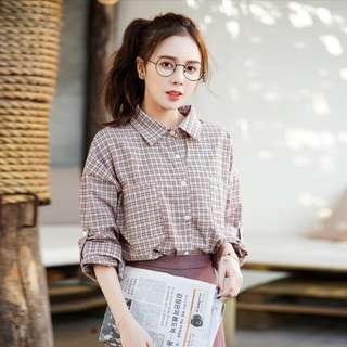 Korean Plaid Shirt Ladies Long Sleeve Fashion Blouse