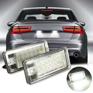AUDI bright white no-error LED Rear Back License Licence Number Plate Lights Car Trunk (with labour)