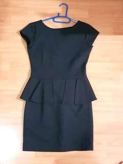 Black Spandex Peplum Dress
