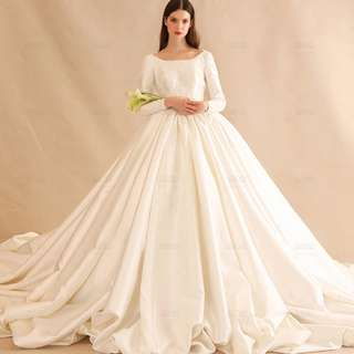 Pre order Muslimah Long sleeve fishtail white vintage wedding bridal prom evening dress gown  RB0599