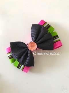 <Instock> Striped Bow Hairclip/Brooch/Hijab Pin