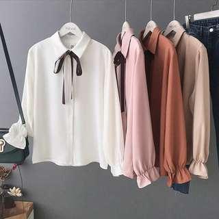 Office Wear Long Sleeve Shirt Women Fashion Chiffon Blouse
