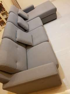 4 seater L shape fabric sofa