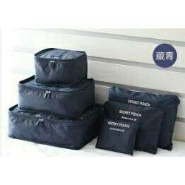 6 in 1 set bag organizer traveling bag (dark blue)