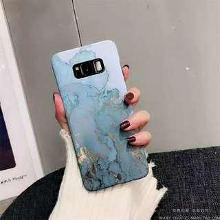 三星s8+燙金雲石手機殼粉蓝大理石硬壳