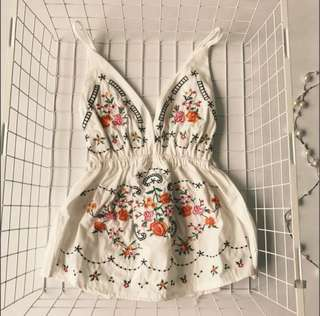 Floral embroidery babydoll top