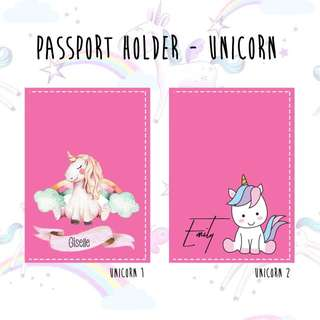 Custom Personalised Passport Cover - Unicorn