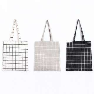 Shopping Book Tote Cotton Linen Grid Bag