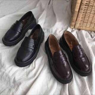 🚚 學院風刷毛小皮鞋