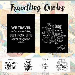 Custom Personalised Passport Cover - Travelling Quotes