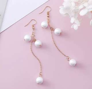 PO - Frosted Simulated Pearl Beads Tassel Earrings