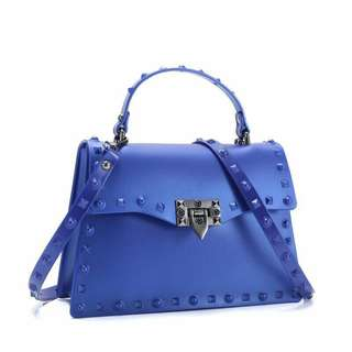 Stylish Jelly Bag with Studs Blue Color