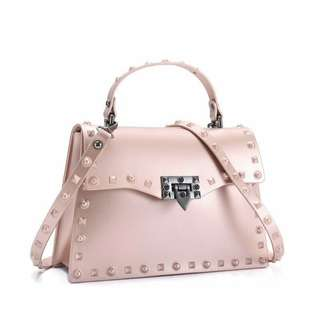 Stylish Jelly Bag With Studs Dusty Pink Color