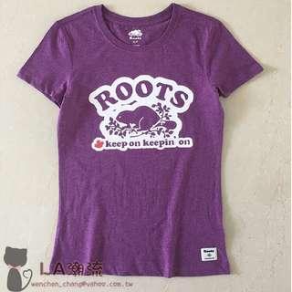 【LA 潮流】特價 ! 加拿大海狸 ROOTS 經典 Logo 女 有機棉運動休閒舒適透氣短袖上衣 TEE-紫 !