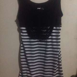 People Are People black and white sabrina style striped sleeveless