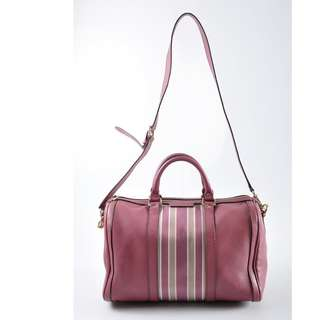 Authentic Gucci Leather Boston Speedy Bandouliere, In Web Pink Leather