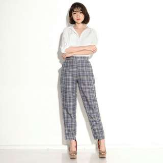 Bshka Square Pants. Celana Kotak Kulot Jogger Panjang Highwaist Kekinian Murah. Katun Kotak Zara