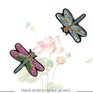 NEW COLLECTION Premium High-Quality Dragonfly French Styles India Silk Handmade Embroidered  Brooch
