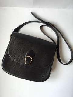 Authentic Louis Vuitton Black Epi Saint Cloud Shoulder Bag
