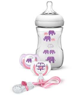 Avent Pink 9oz Elephant Design Natural Bottle Gift Set