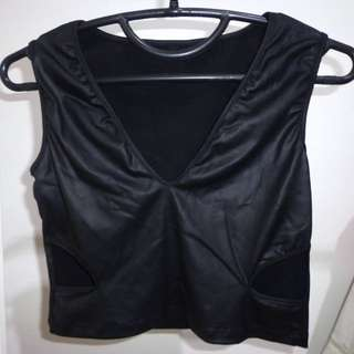 cut-out black leather crop top