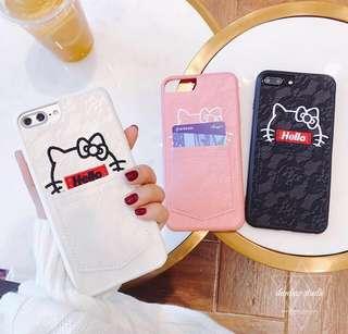 預購~韓國可愛刺繡口袋插卡 手機殼 iPhone X/8/7/6s/6 plus