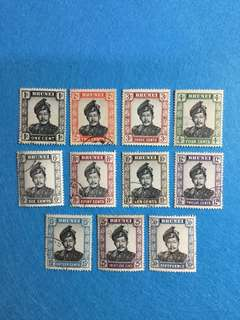 Brunei 1952-1968 Definitives Short Set  11V Used (Watermark Unchecked)