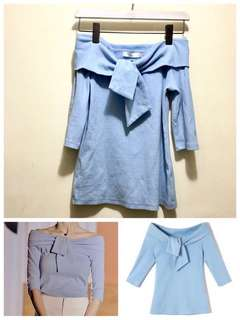 🦄(全新只試穿)粉藍一字肩襯衫