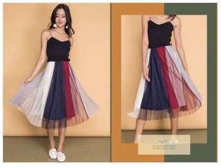 wild peonies multicoloured tulle maxi skirt