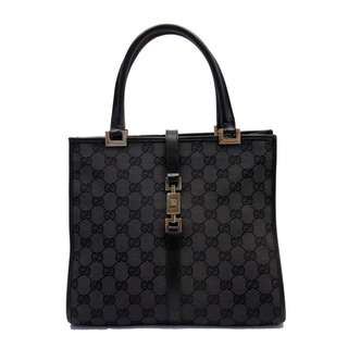 GUCCI Handbag Tote Bag Jackie Line Black GG Canvas x Leather Ladies  RARE BLACK ITEM(SHIP FROM JAPAN)