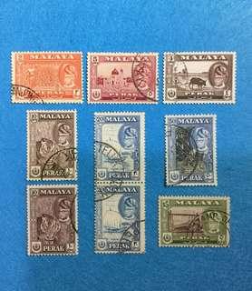 (Reserved)1957 Perak State Definitive  Used Short Set 9V