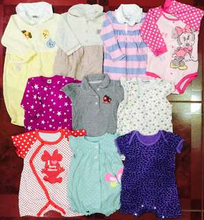 Take All 10 Pcs 6 to 12 Months Baby Girl Onesies Rompers Frogsuits