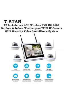 Latest Wireless Plug & Play 4ch/8ch NVR+DVR Kit Set with build in 12inch LED Monitor Screen + 4/8 Weatherproof+Vandalproof (Bullet/Dome) HD Wireless Night Vision+Wide-Angle IP CCTV Camera System (7-STAR*)