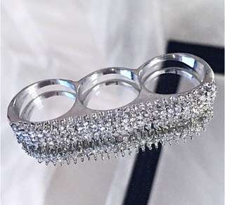 Forever 21 f21 Triple Finger connecter Crystal Silver Knuckle Ring