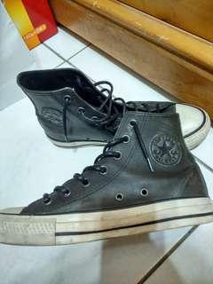 做舊 古著 仿舊 皮革高筒帆布鞋 23cm converse allstar all star