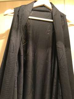 專櫃正品 lsseymiyake 三宅一生 pp 黑色長版背心外套 罩衫