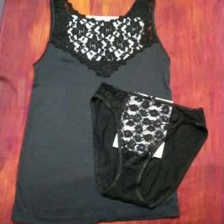 Intimate Wear - Lace Vest And Panty Set, NEW