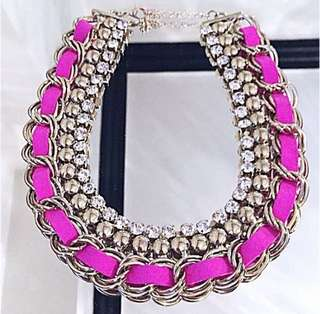 Forever 21 F21 Multi Beaded Crystal Statement Pink Gold Chain Necklace