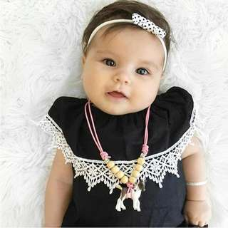 ✔️STOCK - BLACK WITH WHITE LACE COLLAR DETAIL NEWBORN BABY TODDLER GIRL CASUAL ROMPER KIDS CHILDREN CLOTHING