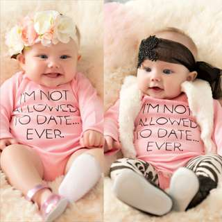 ✔️STOCK - PINK PEACH NOT ALLOWED TO DATE NEWBORN BABY TODDLER GIRL LONG SLEEVES ROMPER KIDS CHILDREN CLOTHING