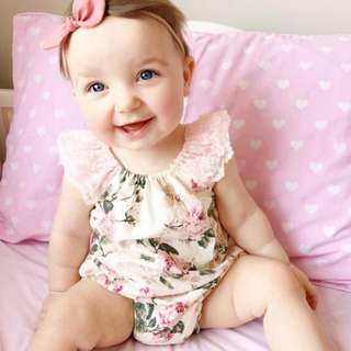 ✔️STOCK - BEIGE FLORAL PINK LACE NEWBORN BABY TODDLER GIRL ROMPER KIDS CHILDREN CLOTHING