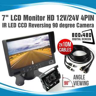 Reverse Backup Camera Reverse System with Car Rear View 7inch TFT LED Monitor (9-36V) - Heavy Vehicles - Lorry - Excavator - Crane - Truck - Van - Bus Camera Parking System - 7 inch LCD LED Reverse monitor