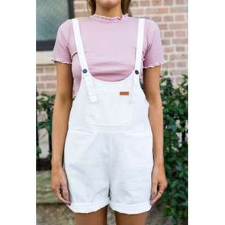 *PRICE DROP* White Overalls - Dolly Girl Fashion